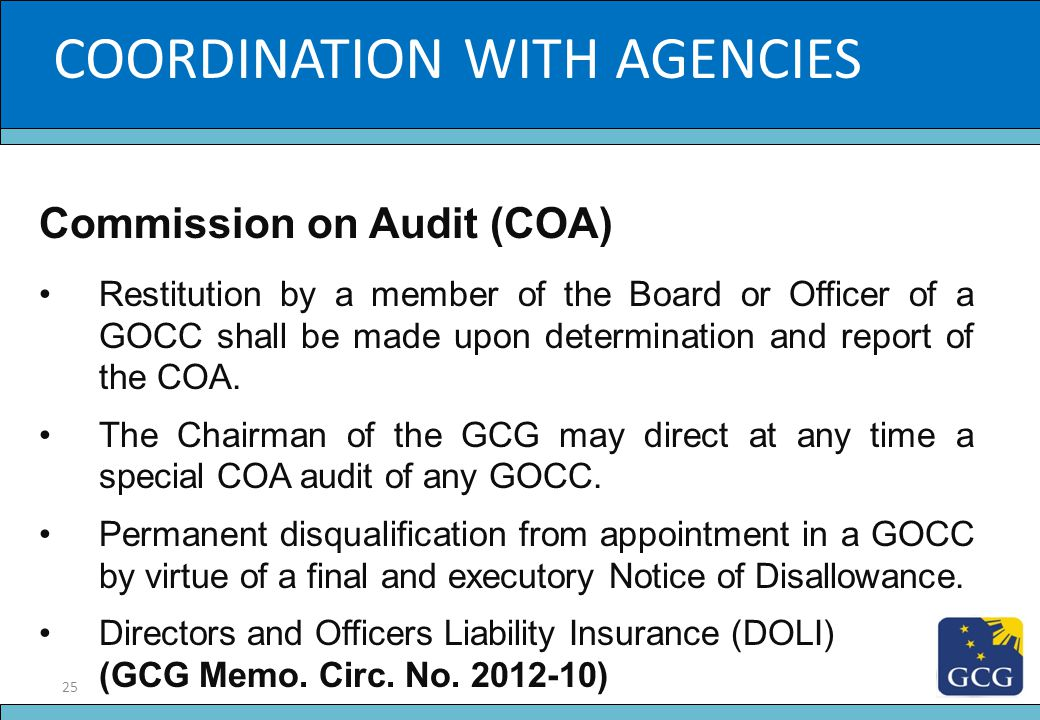 25 Slide Title COORDINATION WITH AGENCIES Commission on Audit (COA) Restitution by a member of the Board or Officer of a GOCC shall be made upon deter