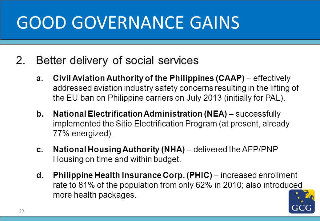 29 Slide Title 2.Better delivery of social services a.Civil Aviation Authority of the Philippines (CAAP) – effectively addressed aviation industry saf