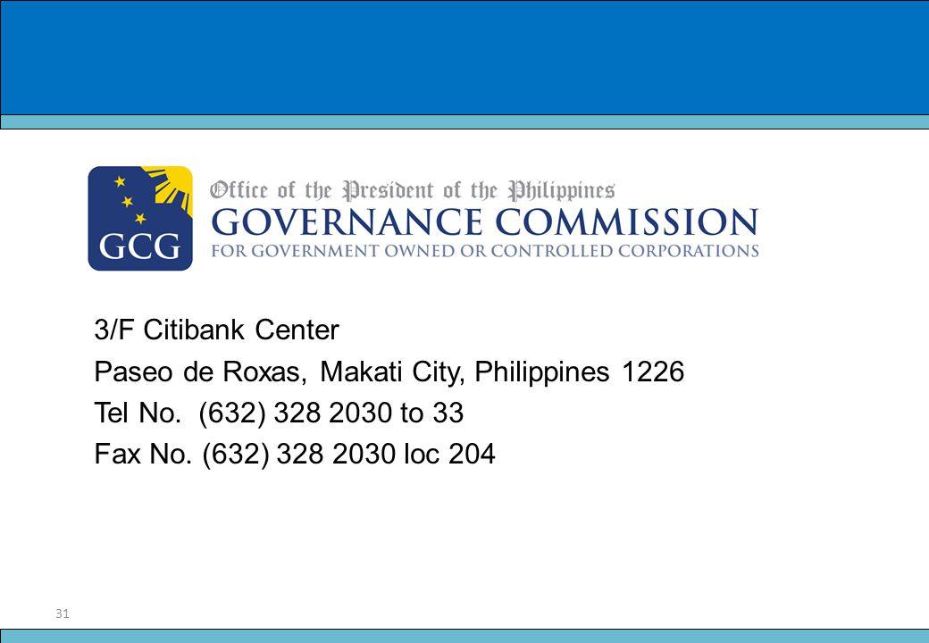 31 Slide Title 3/F Citibank Center Paseo de Roxas, Makati City, Philippines 1226 Tel No. (632) 328 2030 to 33 Fax No. (632) 328 2030 loc 204