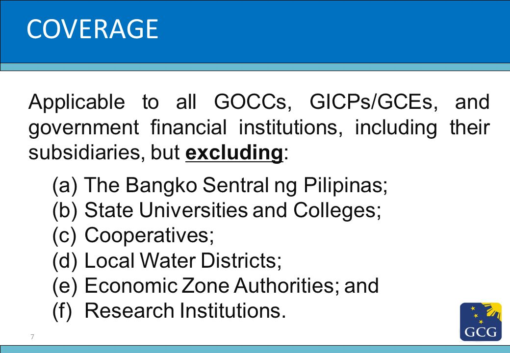 18 Slide Title On Performance Evaluation Entails the preparation by each GOCC of a Performance Scorecard; Ensures adherence to mandate, and alignment to the Philippine Development Plan and the President's Social Contract; Development of Integrated Corporate Reporting System (ICRS) for the GOCC Sector underway.