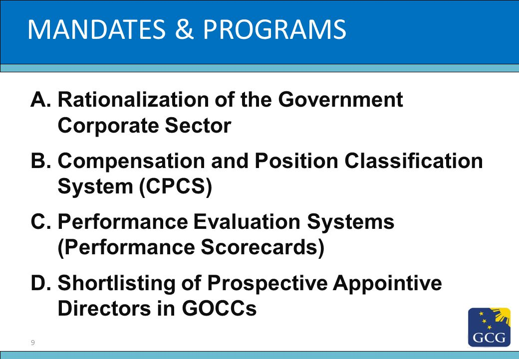 20 Slide Title O RGANIC D OCUMENTS 1.Ownership and Operations Manual for GOCCs 2.Code of Corporate Governance for GOCCs 3.The Fit and Proper Rule