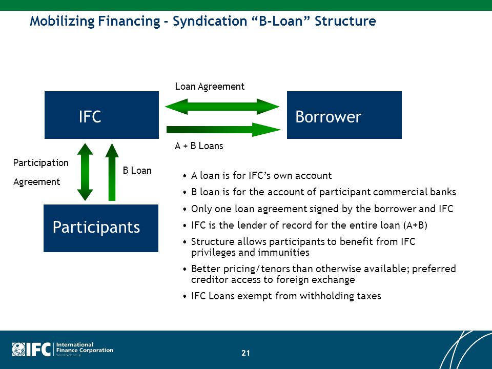 """Mobilizing Financing - Syndication """"B-Loan"""" Structure A loan is for IFC's own account B loan is for the account of participant commercial banks Only o"""