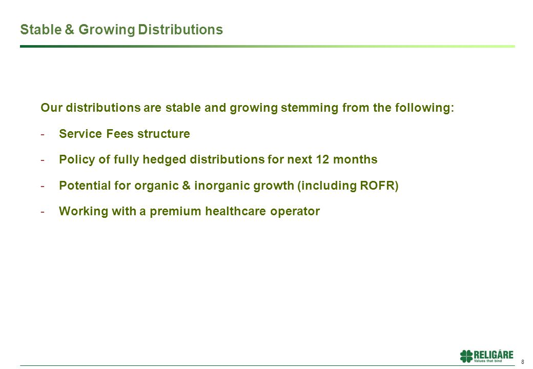 Our distributions are stable and growing stemming from the following: -Service Fees structure -Policy of fully hedged distributions for next 12 months -Potential for organic & inorganic growth (including ROFR) -Working with a premium healthcare operator 8 Stable & Growing Distributions