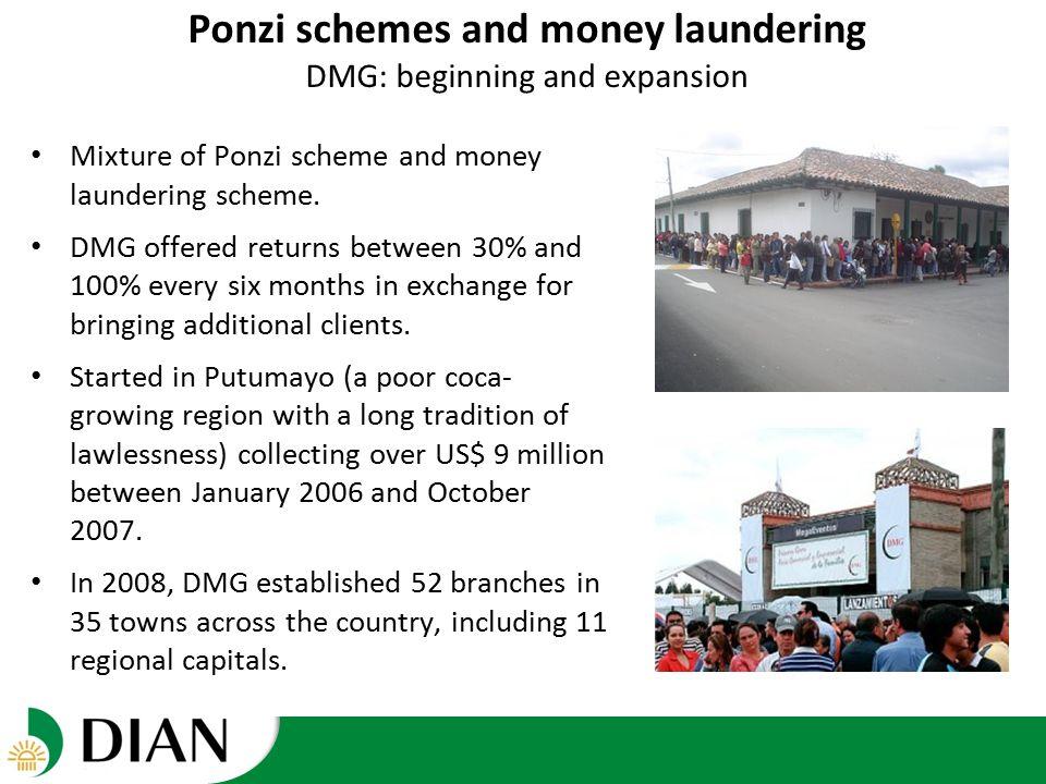 Ponzi schemes and money laundering DMG: beginning and expansion Mixture of Ponzi scheme and money laundering scheme.