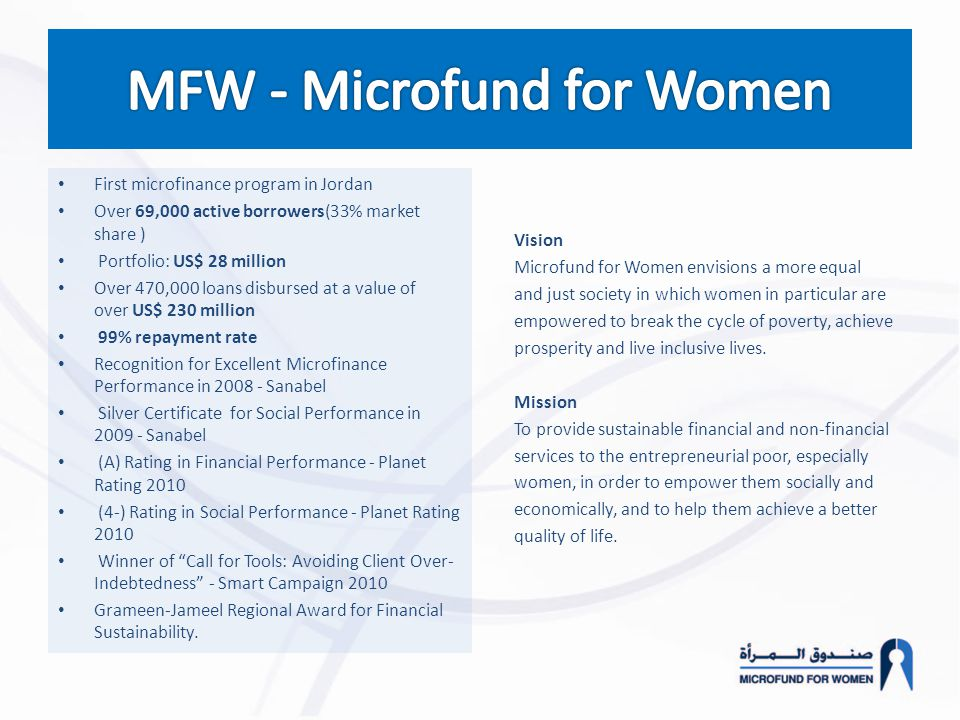 Vision Microfund for Women envisions a more equal and just society in which women in particular are empowered to break the cycle of poverty, achieve p