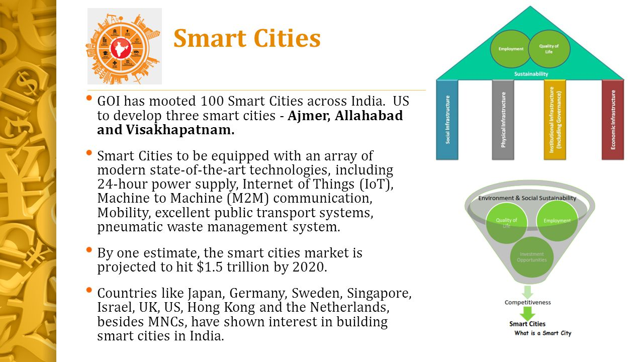 Smart Cities GOI has mooted 100 Smart Cities across India. US to develop three smart cities - Ajmer, Allahabad and Visakhapatnam. Smart Cities to be e