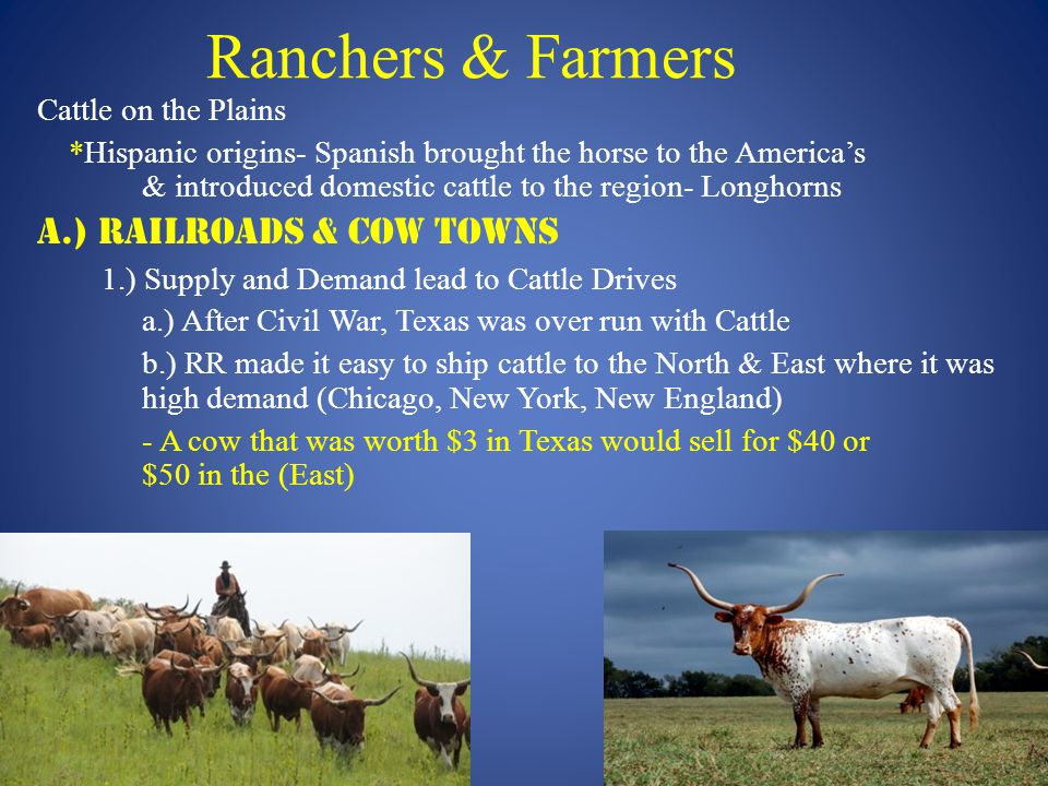 Ranchers & Farmers Cattle on the Plains *Hispanic origins- Spanish brought the horse to the America's & introduced domestic cattle to the region- Longhorns A.) Railroads & Cow Towns 1.) Supply and Demand lead to Cattle Drives a.) After Civil War, Texas was over run with Cattle b.) RR made it easy to ship cattle to the North & East where it was high demand (Chicago, New York, New England) - A cow that was worth $3 in Texas would sell for $40 or $50 in the (East)