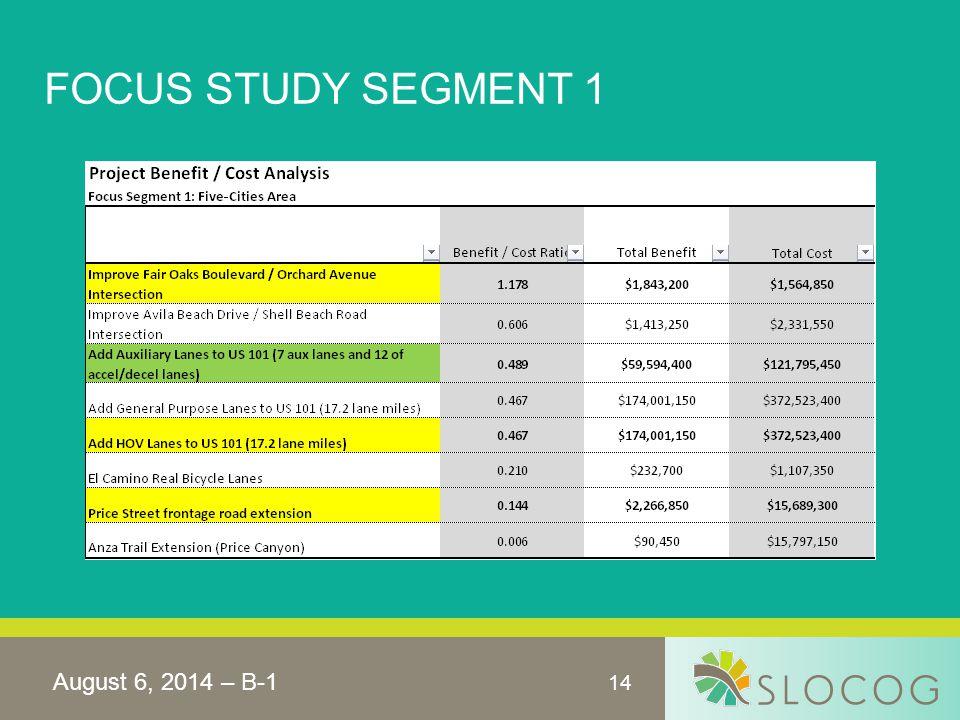 14 FOCUS STUDY SEGMENT 1 August 6, 2014 – B-1