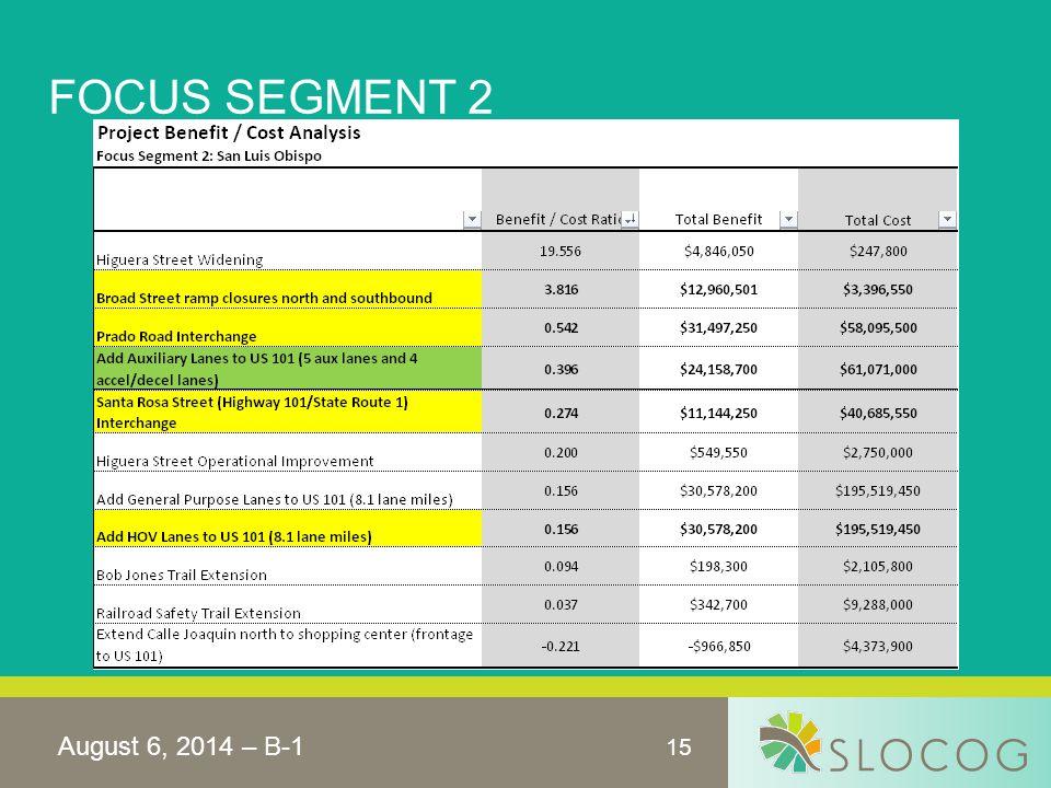 15 FOCUS SEGMENT 2 August 6, 2014 – B-1