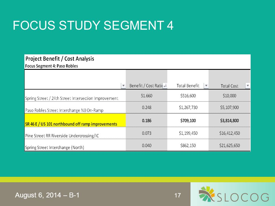 17 FOCUS STUDY SEGMENT 4 August 6, 2014 – B-1