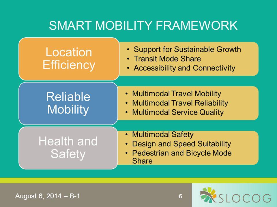 6 SMART MOBILITY FRAMEWORK August 6, 2014 – B-1