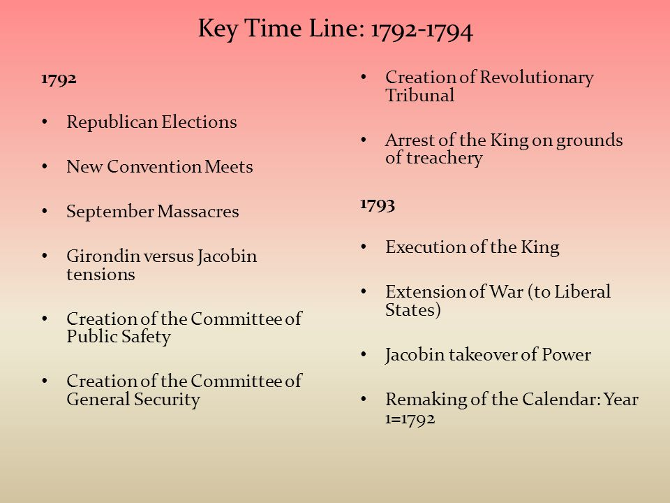 Key Time Line: 1792-1794 1792 Republican Elections New Convention Meets September Massacres Girondin versus Jacobin tensions Creation of the Committee