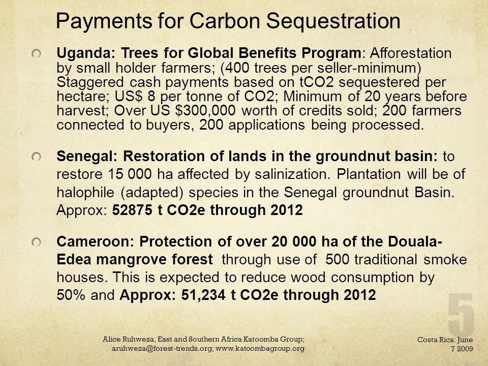 Payments for Carbon Sequestration Uganda: Trees for Global Benefits Program: Afforestation by small holder farmers; (400 trees per seller-minimum) Staggered cash payments based on tCO2 sequestered per hectare; US$ 8 per tonne of CO2; Minimum of 20 years before harvest; Over US $300,000 worth of credits sold; 200 farmers connected to buyers, 200 applications being processed.