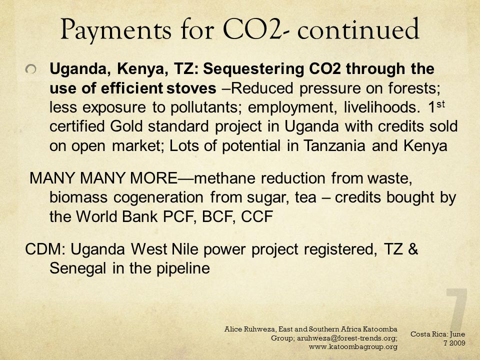 Payments for CO2- continued Uganda, Kenya, TZ: Sequestering CO2 through the use of efficient stoves –Reduced pressure on forests; less exposure to pol