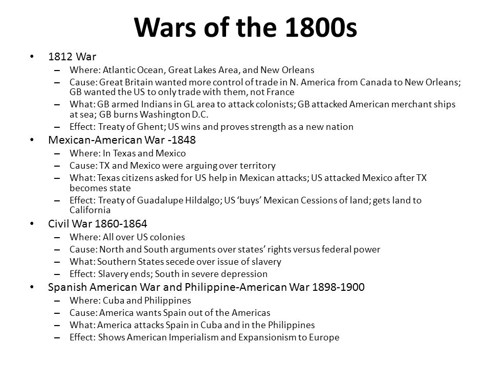 Wars of the 1900s World War I – 1914-1918 – Where: Mostly France – Cause: Sinking of the Lusitania by German unrestricted submarine warfare – What: US sends troops to France to fight Germany – Effect: Treaty of Versailles; Germany at fault for war; goes in depression allowing Hitler to come to power World War II – 1941-1945 – Where: In Pacific, Atlantic, Europe, Africa, Middle East, China – Cause: Hitler wants world domination – What: US enters only after Pearl Harbor; fights Japanese, Italians, then Germans in Europe – Effect: Treaty of Versailles; United Nations established to keep world peace Cold War – 1946-1989 – Where: All over the world – Cause: Russia tries to spread communism; US tries to contain it – What: America and Russia build up arms and militaries; fight – Effect: NATO and Warsaw Pacts signed; fight proxy wars but not actually each other Korean War – 1950-1953 – Where: Korea – Cause: Russia and China try to help Korea become communist – What: America fights N.