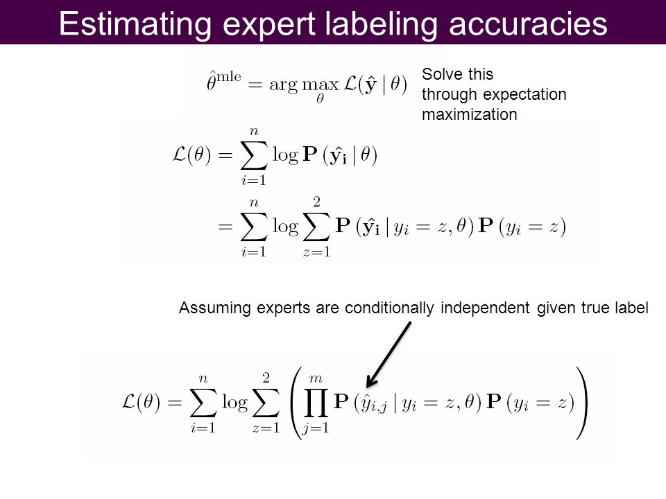 Estimating expert labeling accuracies Solve this through expectation maximization Assuming experts are conditionally independent given true label