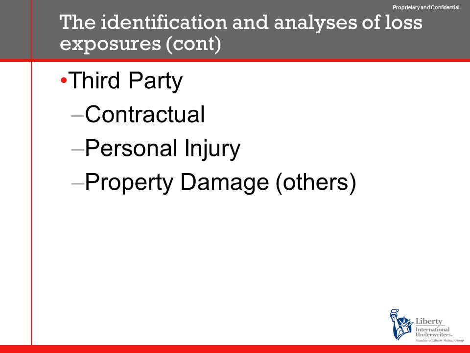 Proprietary and Confidential The identification and analyses of loss exposures (cont) Third Party –Contractual –Personal Injury –Property Damage (others)