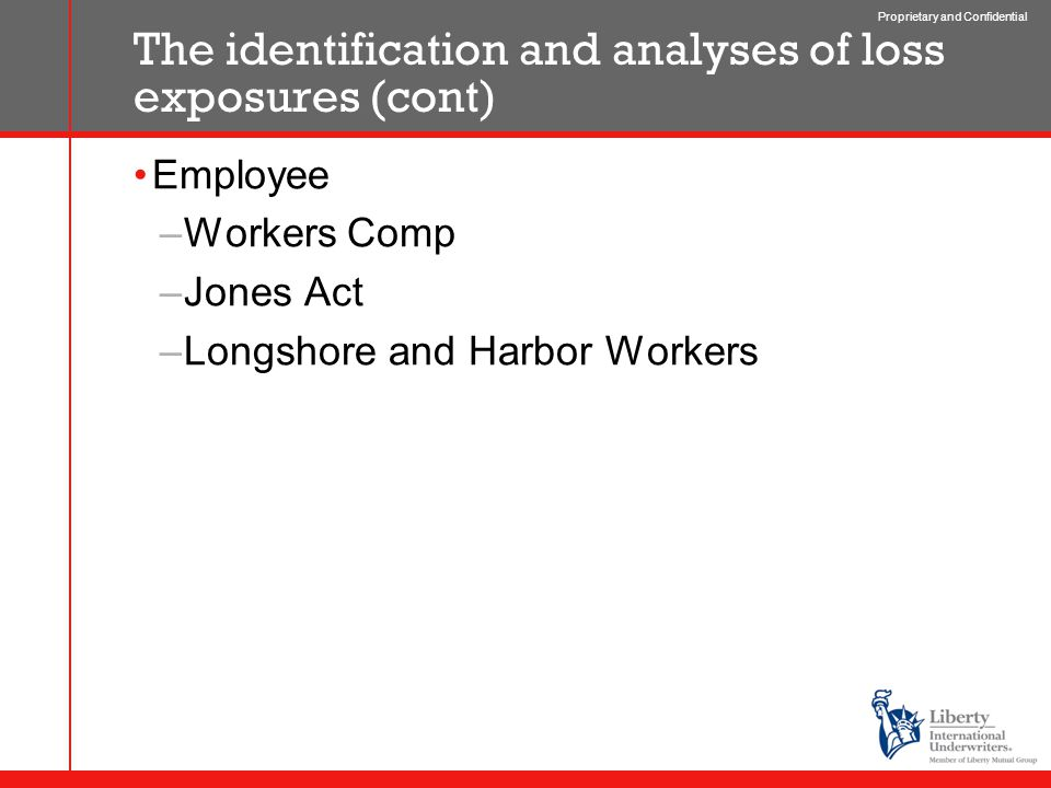 Proprietary and Confidential The identification and analyses of loss exposures (cont) Employee –Workers Comp –Jones Act –Longshore and Harbor Workers