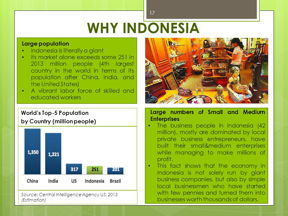 WHY INDONESIA 17 Large population Indonesia is literally a giant Its market alone exceeds some 251 in 2013 million people (4th largest country in the
