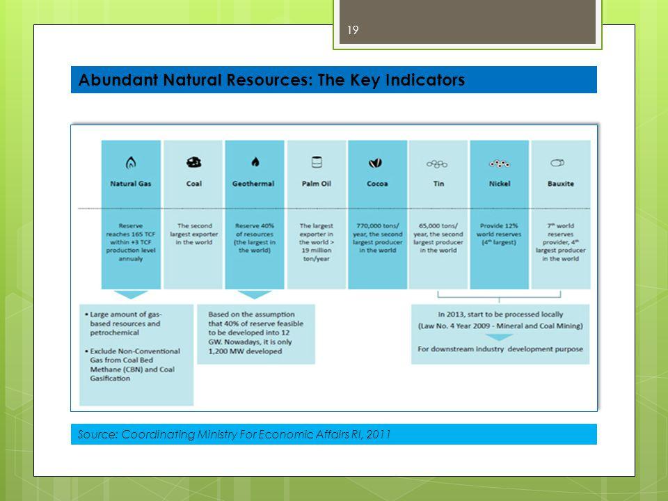 19 Abundant Natural Resources: The Key Indicators Source: Coordinating Ministry For Economic Affairs RI, 2011