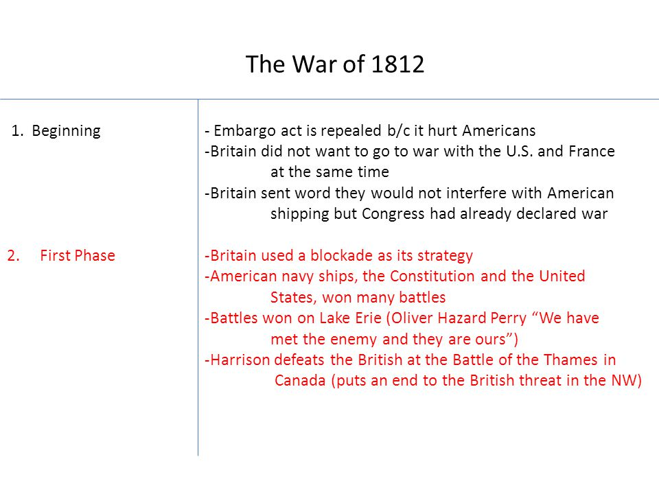 The War of 1812 1.