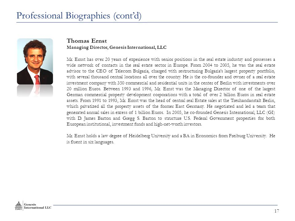 17 Thomas Ernst Managing Director, Genesis International, LLC Mr.