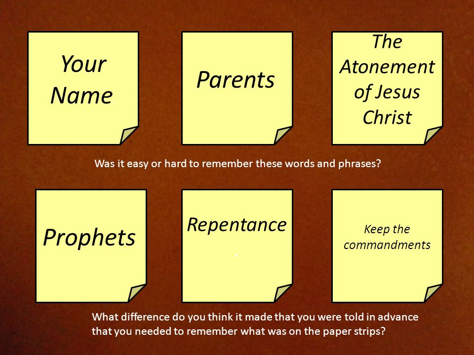 Your Name. Parents. The Atonement of Jesus Christ Prophets.