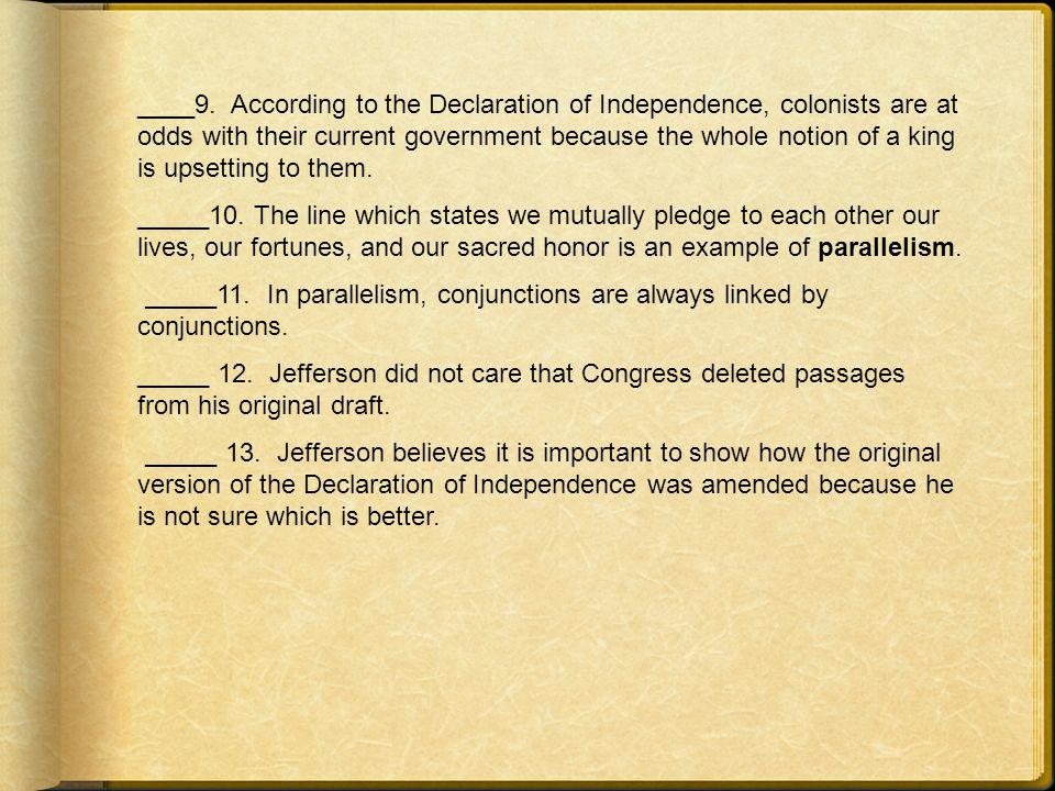 _____ 1.Thomas Jefferson's father was a modest farmer.