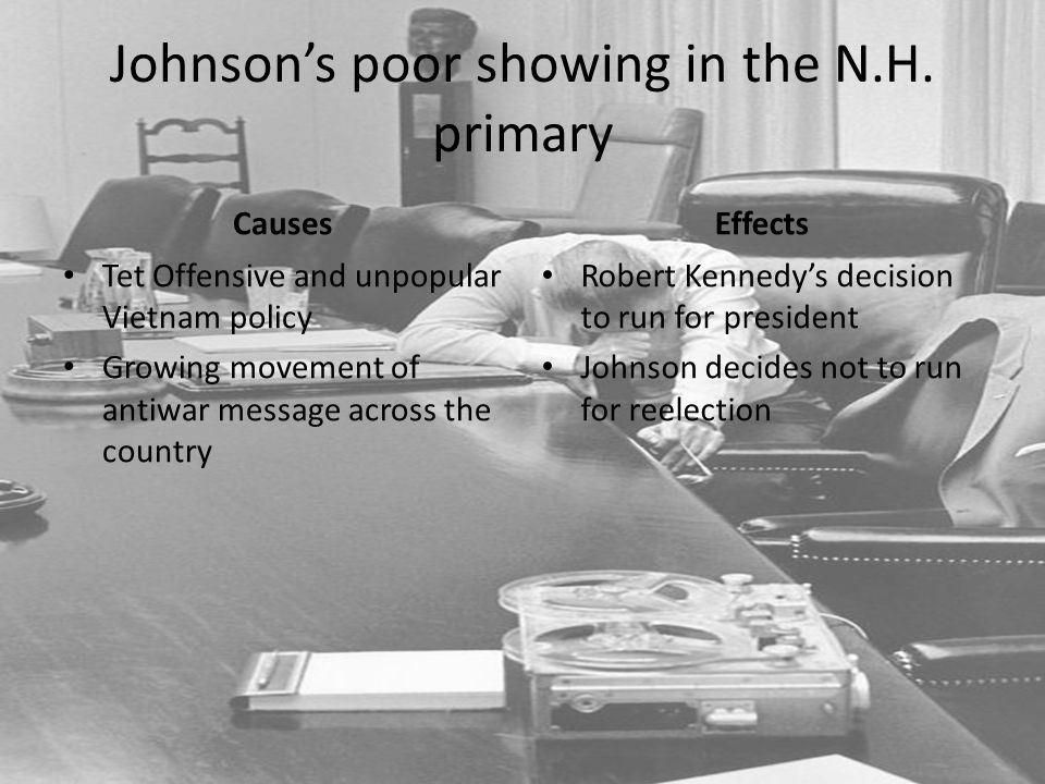 Johnson's poor showing in the N.H. primary Causes Tet Offensive and unpopular Vietnam policy Growing movement of antiwar message across the country Ef