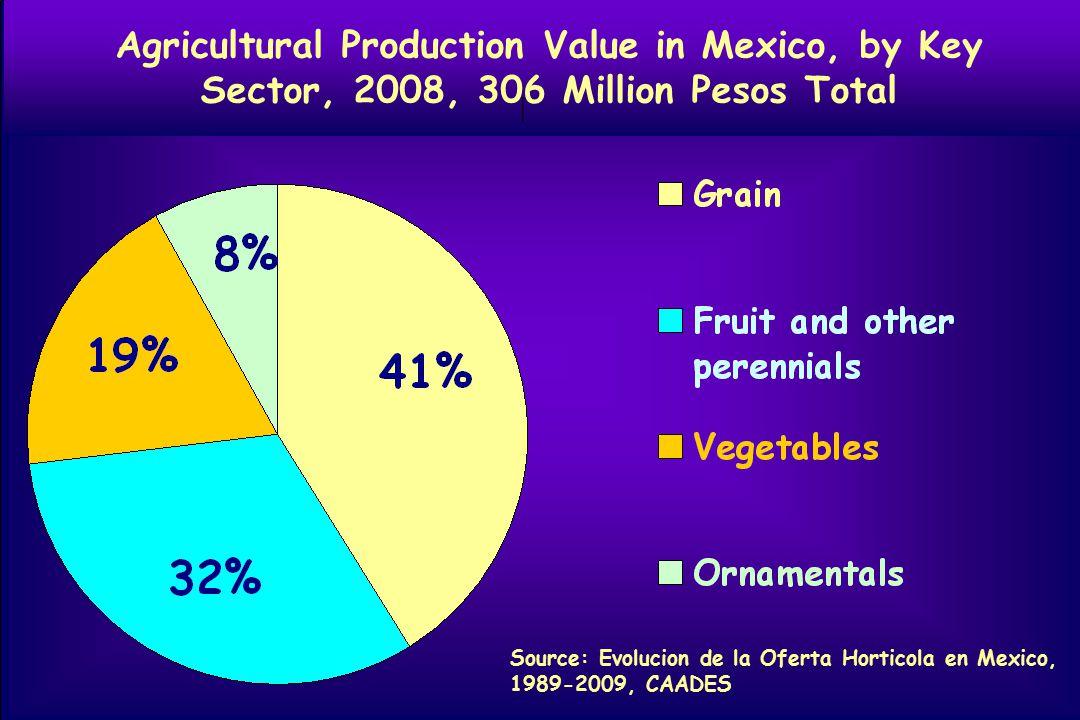 Agricultural Production Value in Mexico, by Key Sector, 2008, 306 Million Pesos Total Source: Evolucion de la Oferta Horticola en Mexico, 1989-2009, CAADES