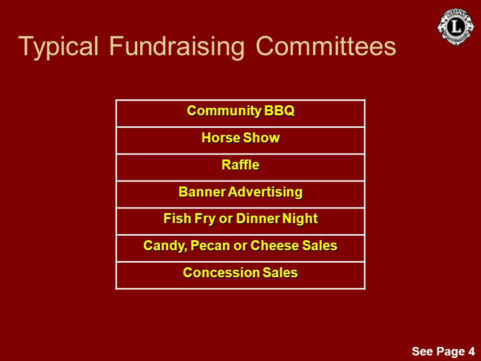 See Page 4 Community BBQ Horse Show Raffle Banner Advertising Fish Fry or Dinner Night Candy, Pecan or Cheese Sales Concession Sales Typical Fundraisi
