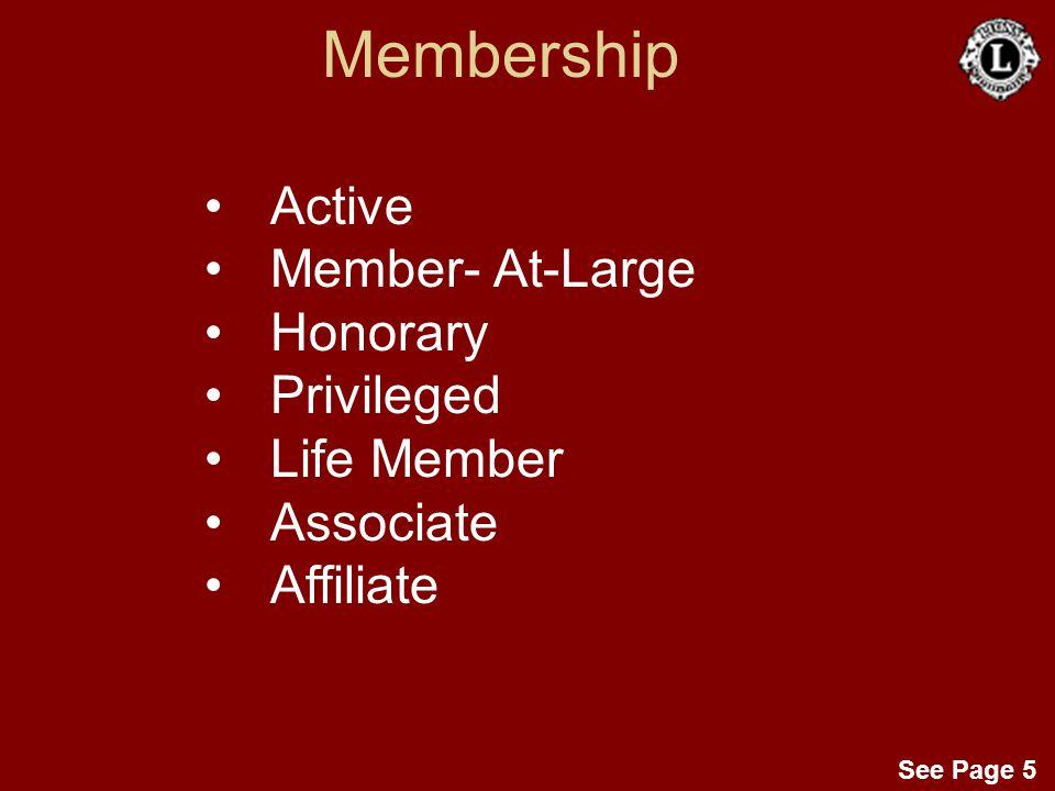 Membership Active Member- At-Large Honorary Privileged Life Member Associate Affiliate