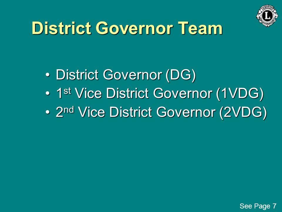 District Governor Team District Governor (DG)District Governor (DG) 1 st Vice District Governor (1VDG)1 st Vice District Governor (1VDG) 2 nd Vice Dis
