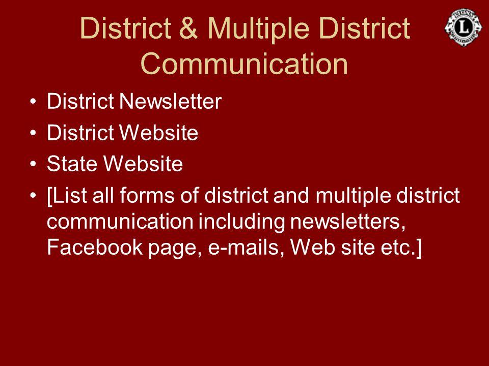 District & Multiple District Communication District Newsletter District Website State Website [List all forms of district and multiple district commun