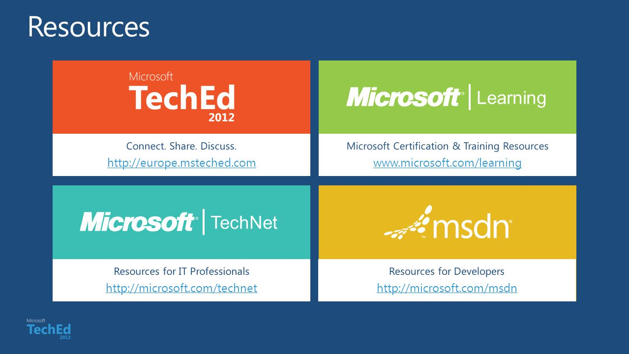 Connect. Share. Discuss. http://europe.msteched.com Learning Microsoft Certification & Training Resources www.microsoft.com/learning TechNet Resources