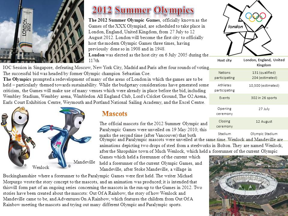 The 2012 Summer Olympic Games, officially known as the Games of the XXX Olympiad, are scheduled to take place in London, England, United Kingdom, from