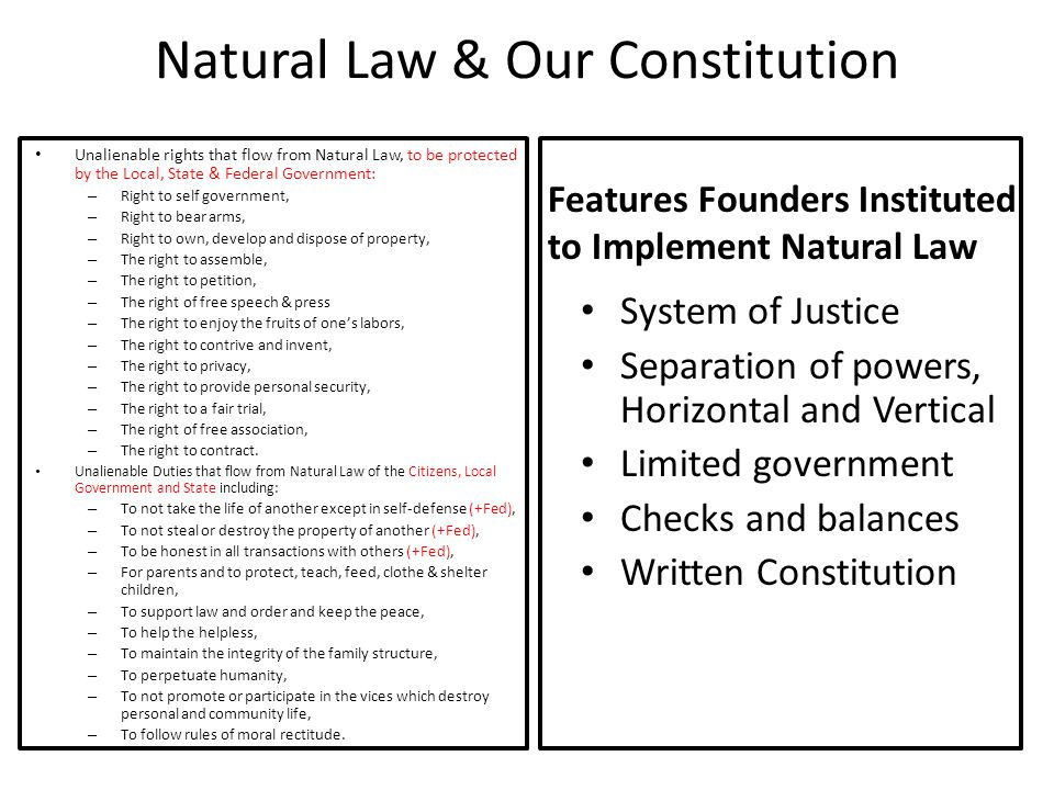 Natural Law & Our Constitution Unalienable rights that flow from Natural Law, to be protected by the Local, State & Federal Government: – Right to sel