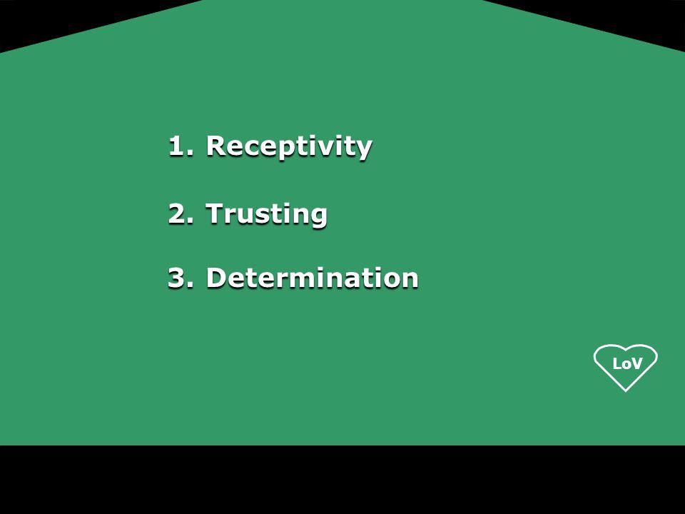 LoV 1.Receptivity 2.Trusting 3.Determination