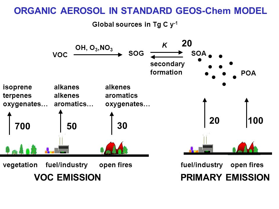 ORGANIC AEROSOL IN STANDARD GEOS-Chem MODEL fuel/industry open fires OH, O 3,NO 3 SOGSOA POA K vegetation fuel/industry open fires 700 isoprene terpenes oxygenates… 30 alkenes aromatics oxygenates… alkanes alkenes aromatics… VOC EMISSIONPRIMARY EMISSION VOC 50 20100 20 Global sources in Tg C y -1 secondary formation
