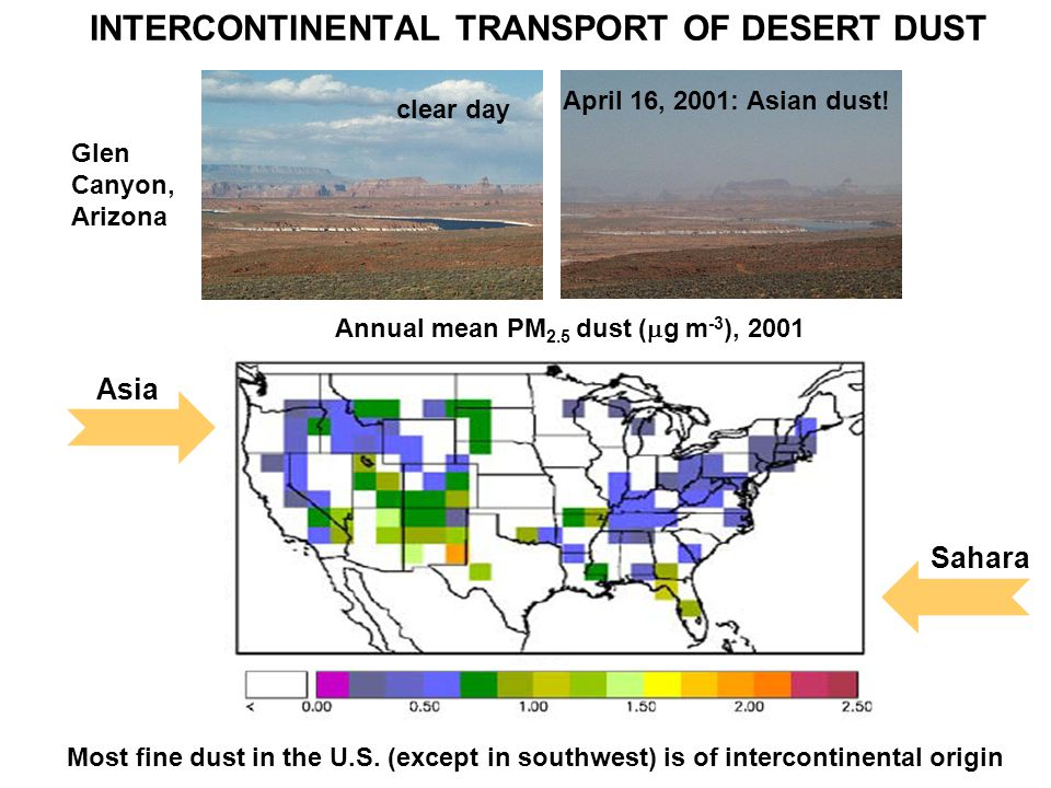 INTERCONTINENTAL TRANSPORT OF DESERT DUST Glen Canyon, Arizona clear day April 16, 2001: Asian dust.