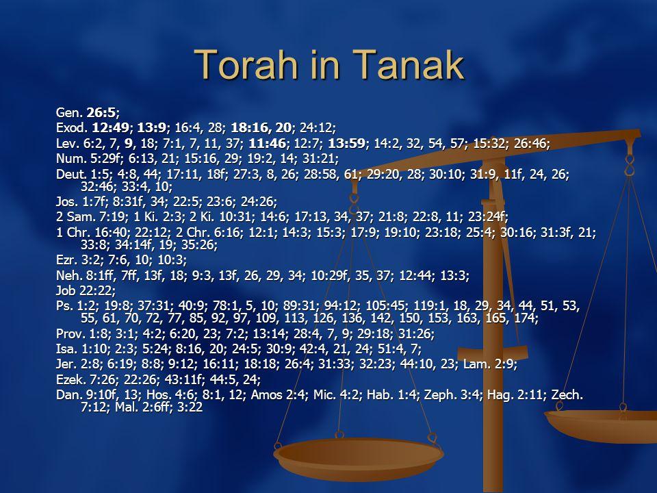 Torah in Tanak Gen. 26:5; Exod. 12:49; 13:9; 16:4, 28; 18:16, 20; 24:12; Lev.