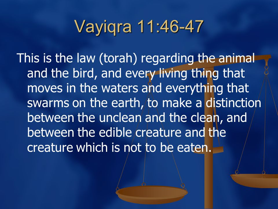Vayiqra 11:46-47 This is the law (torah) regarding the animal and the bird, and every living thing that moves in the waters and everything that swarms