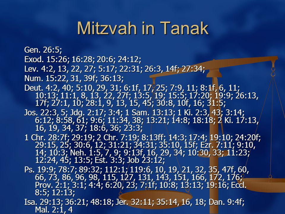Mitzvah in Tanak Gen. 26:5; Exod. 15:26; 16:28; 20:6; 24:12; Lev.