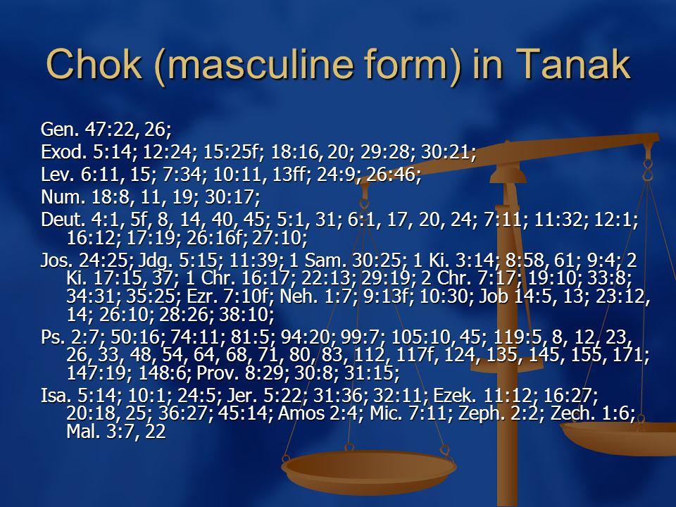 Chok (masculine form) in Tanak Gen. 47:22, 26; Exod.
