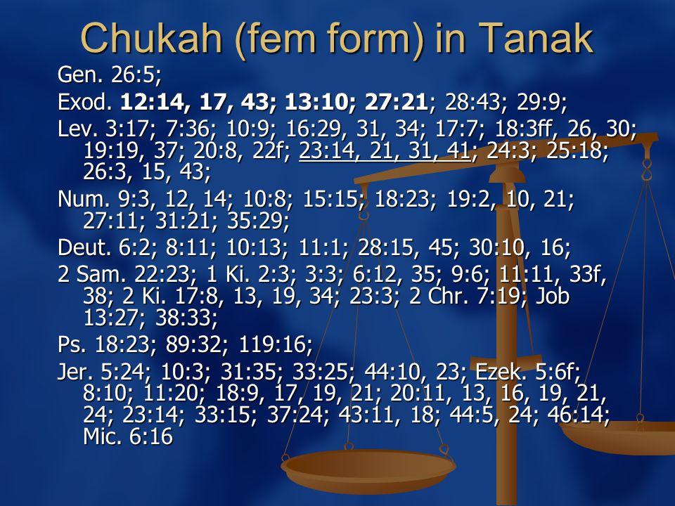 Chukah (fem form) in Tanak Gen. 26:5; Exod. 12:14, 17, 43; 13:10; 27:21; 28:43; 29:9; Lev.