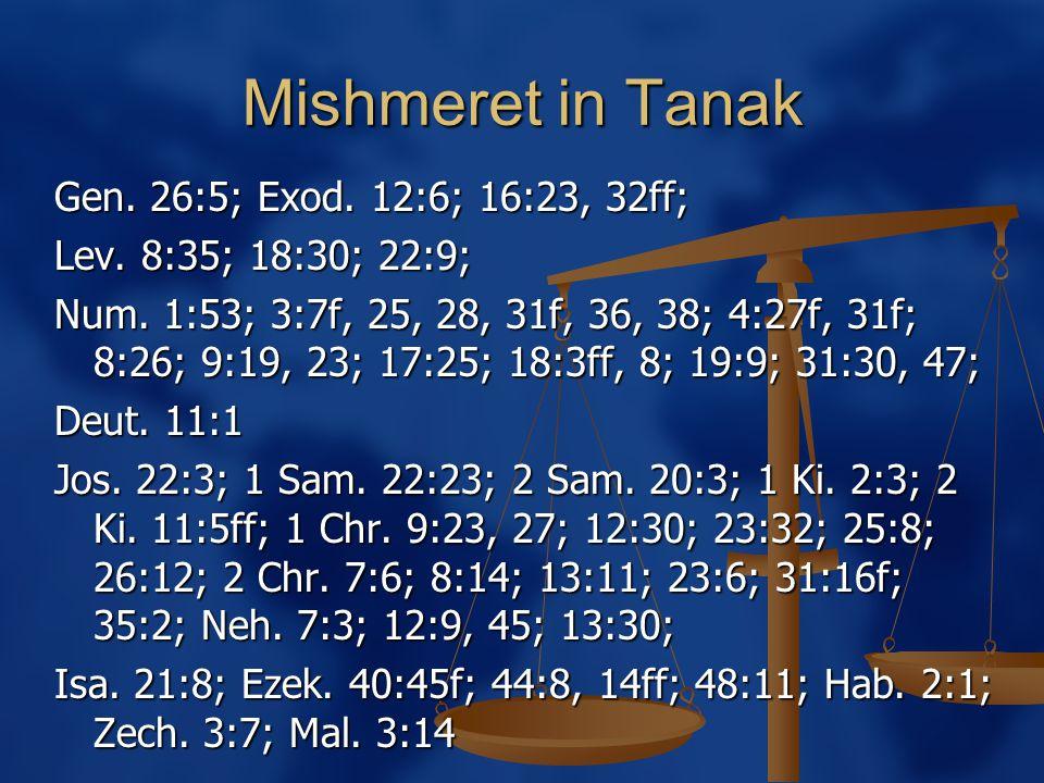 Mishmeret in Tanak Gen. 26:5; Exod. 12:6; 16:23, 32ff; Lev.
