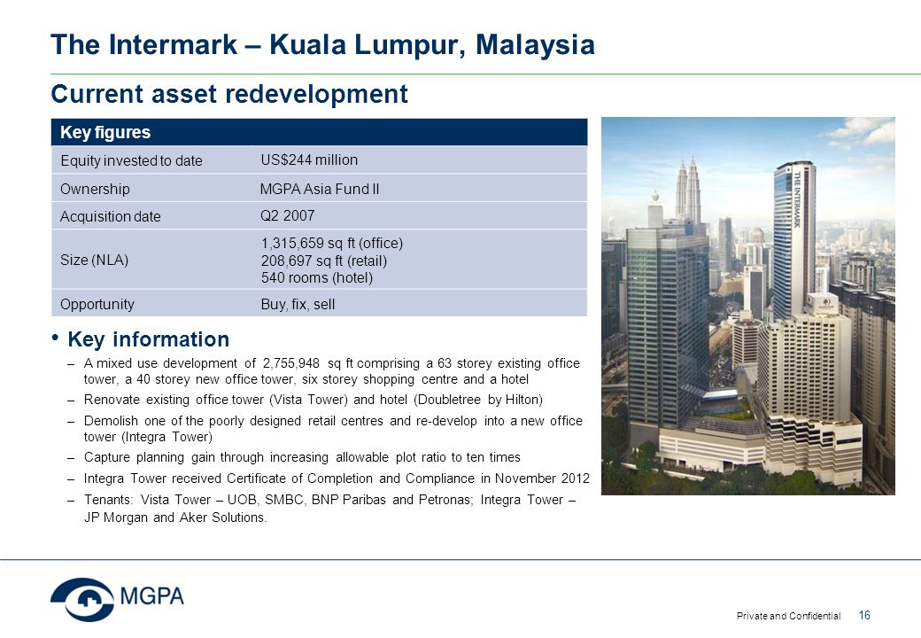 The Intermark – Kuala Lumpur, Malaysia Private and Confidential 16 Current asset redevelopment Key figures Equity invested to date US$244 million Owne