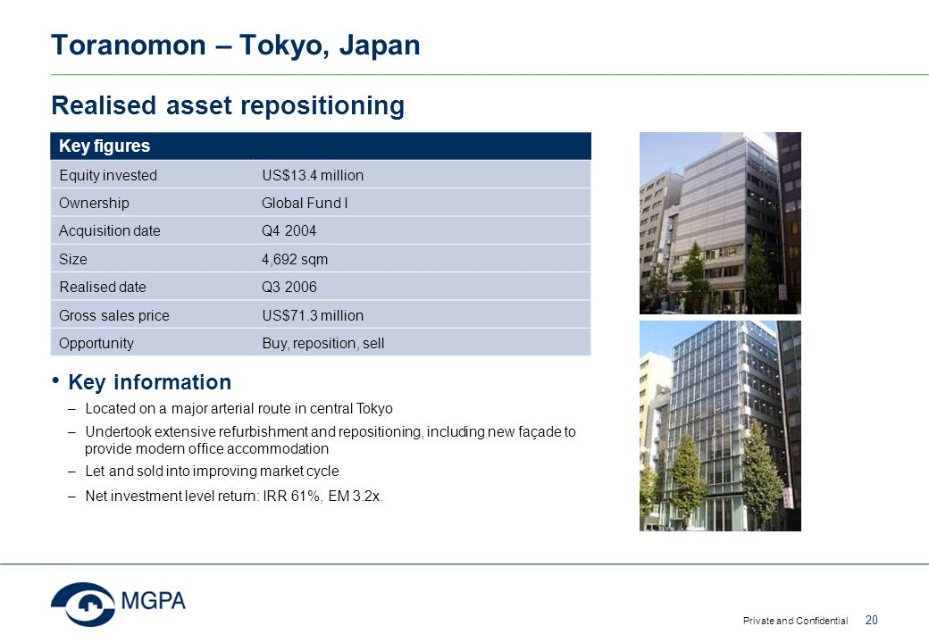 Toranomon – Tokyo, Japan Private and Confidential 20 Realised asset repositioning Key figures Equity investedUS$13.4 million OwnershipGlobal Fund I Ac
