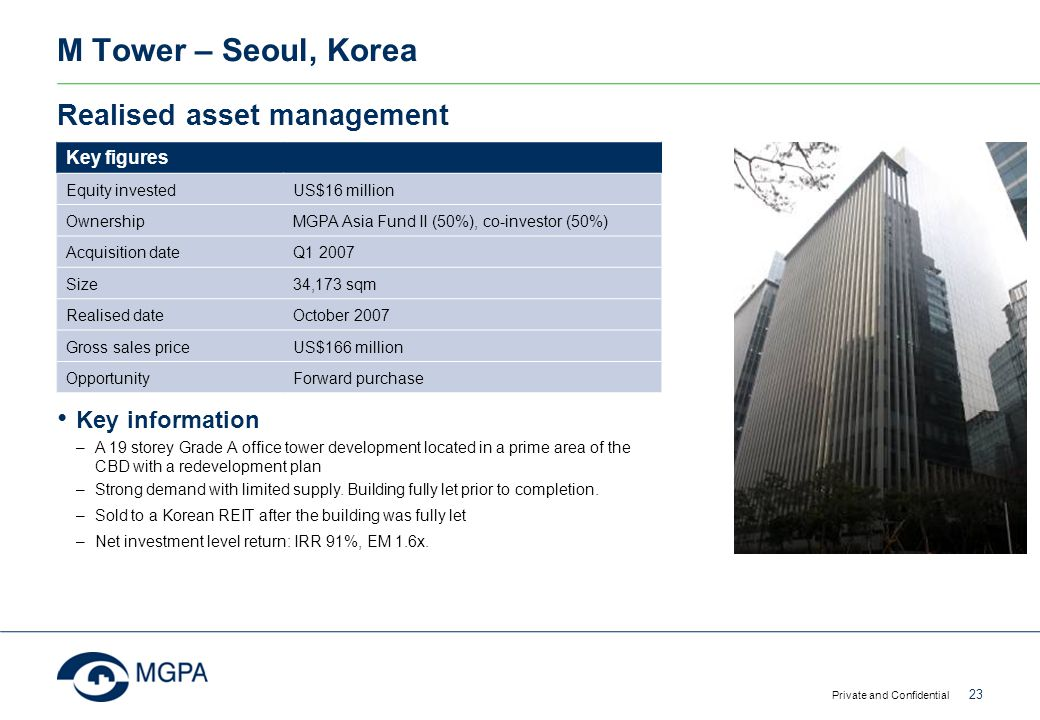 M Tower – Seoul, Korea Private and Confidential 23 Realised asset management Key figures Equity investedUS$16 million Ownership MGPA Asia Fund II (50%