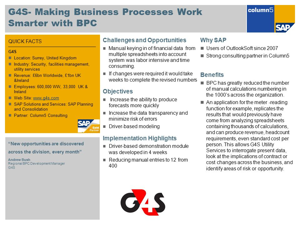 QUICK FACTS G4S- Making Business Processes Work Smarter with BPC Challenges and Opportunities Manual keying in of financial data from multiple spreads